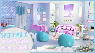 The Sims 4 Speed Build   PINK \u0026 BLUE NEON STUDIO + CC Links