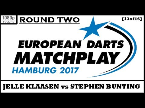 Round 2 [13of16]: Jelle Klaasen v Stephen Bunting & Interview - European Darts Matchplay 2017 HD