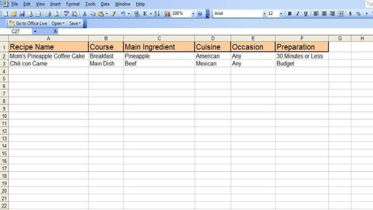 how to create an excel recipe spreadsheet youtube