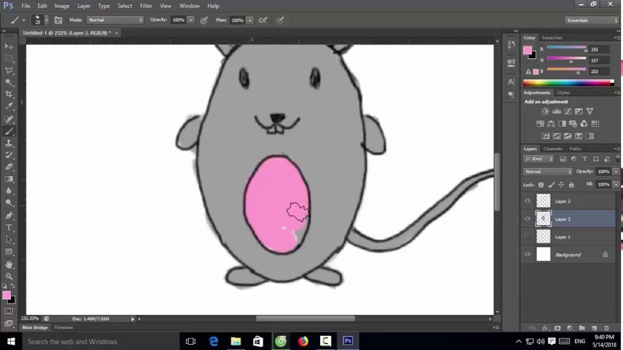 Vẽ con chuột – Lần đầu dùng wacom vẽ trên Photoshop