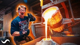 POURING 220LBS OF MOLTEN BRONZE!!!