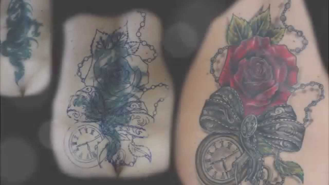 Cover up of a failed tattoo   Recouvrement d un tatouage rat         Cover up of a failed tattoo   Recouvrement d un tatouage rat       dragon    pocket watch   rose   bow   YouTube