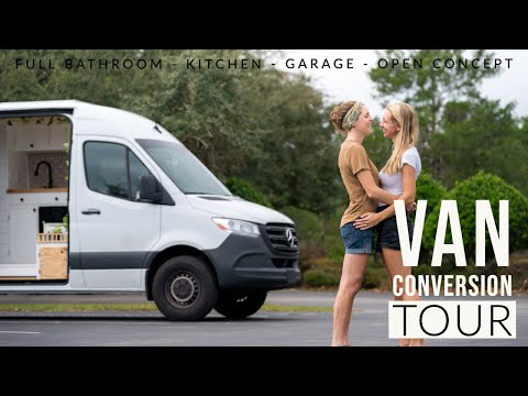 Van Tour | 2019 Sprinter Conversion, Full Shower, Kitchen, Garage, & Open Concept