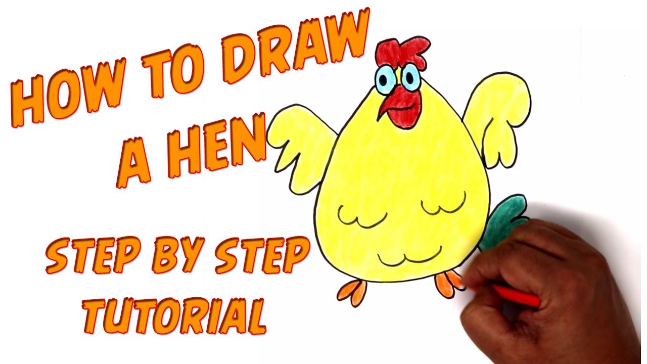 how to draw a cartoon hen for kids step by step tutorial learn drawing coloring color a hen