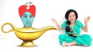 Stacy e pai como heróis do conto de Aladdin