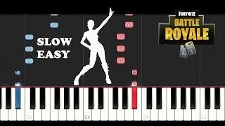 Fortnite Dance - Star Power (SLOW EASY PIANO TUTORIAL)