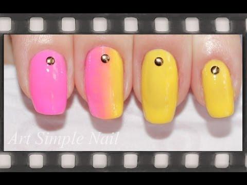 розово жёлтый маникюр фото
