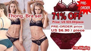 Thong, Bra and Panties set.Female lingerie set underwear women