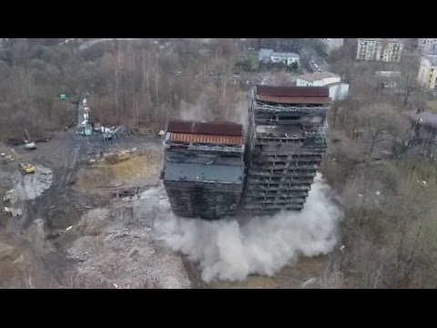 Building demolition op turns into cinematic 'action movie scene' filmed by drone
