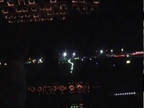 Adria Airways A319 Night landing/takeoff Frankfurt + Landing at Ljubljana (cockpit)