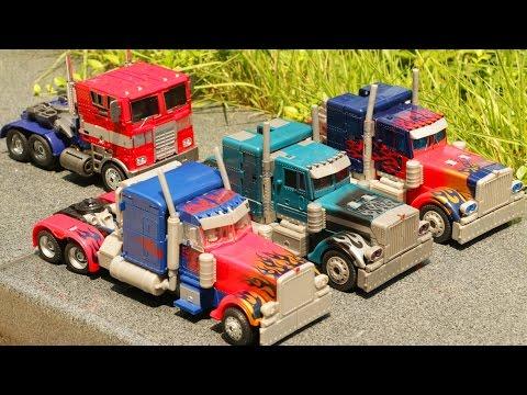 Transformers Optimus Prime 4 Vehicle Transformation Robot Car Toys 트랜스포머 옵티머스 프라임 4대 자동차 장난감 변신 동영상