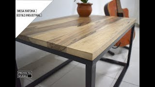 MESA RATONA ESTILO INDUSTRIAL, MADERA Y HIERRO ( Industrial Coffee Table) - PROYECTO MUEBLE