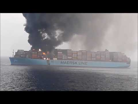 360M Long Maersk Container Ship Caught fire on 07 March 2018 Live Video.