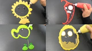 Plants vs Zombies Pancake Art - Sunflower, Jalapeno, Wall-Nut, Peashooter