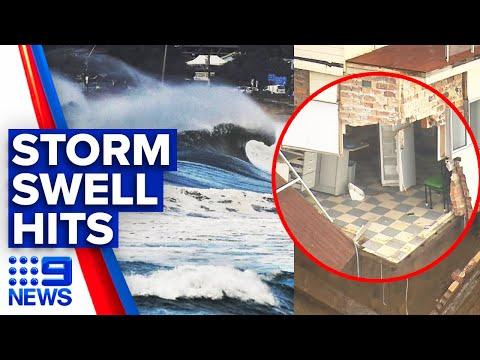 Beachfront Homes Battered, Flood Warnings As Huge Swell Forms | 9 News Australia