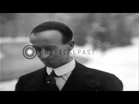 John Buchan, Governor General of Canada, broadcasts New Year's message and speaks...HD Stock Footage
