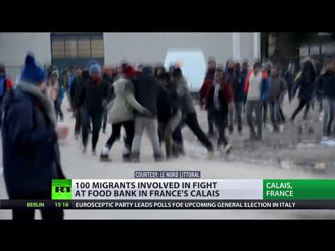 100+ migrants face off in bloody clashes at food bank queue in Calais