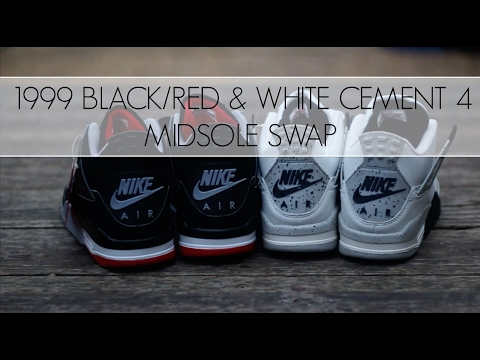 Air Jordan 1999 White Cement And Bred 4 Sole Swap!