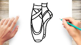 How to Draw Ballet Shoes Step by Step Easy