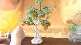 Дерево из бисера | Окраска ствола дерева | Мастер класс № 13