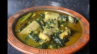 Puishak with Catfish Fish Jhol Recipe \\পুই শাক দিয়ে শিং মাছের ঝোল রেসেপি