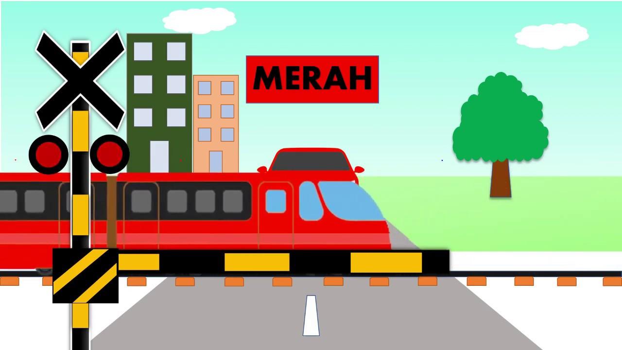 Gambar Kereta Api Kartun Berwarna Perlintasan Kereta Api Kartun Belajar Warna Merah Anak Anak Kota Grobogan Youtube