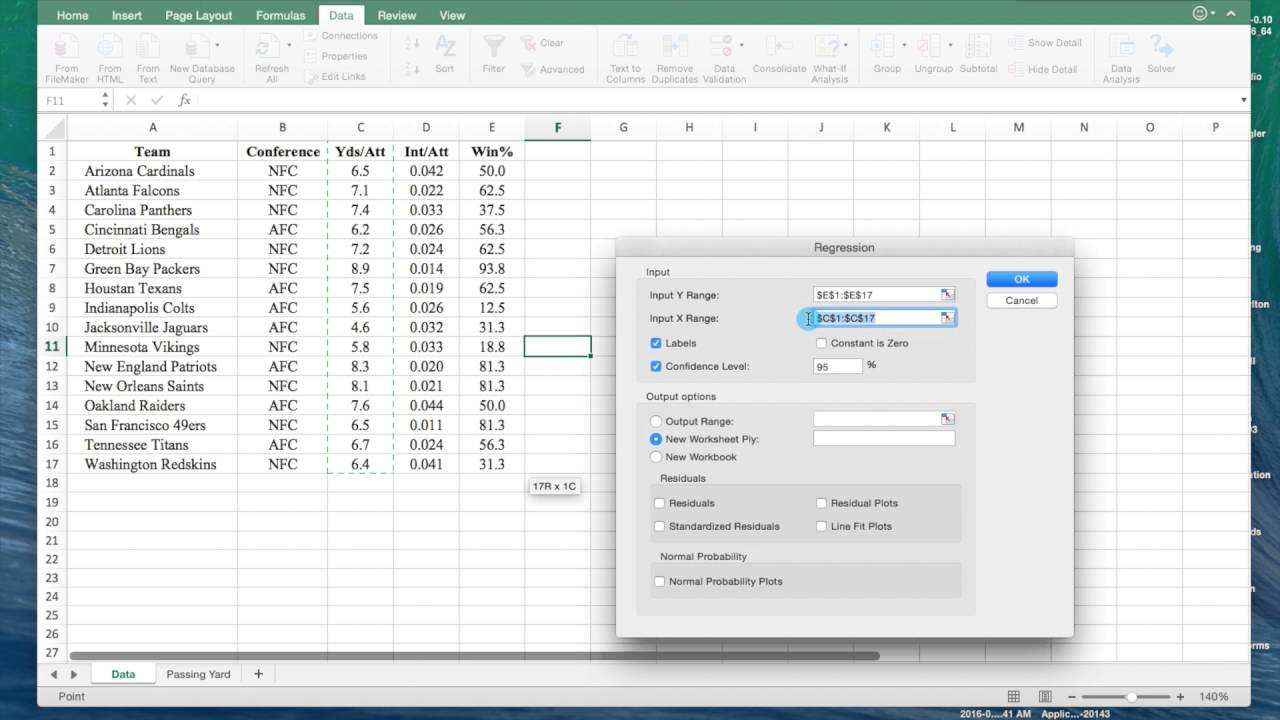 how to get data analysis in excel mac  How to perform a Regression Analysis on Microsoft Excel 2016 on a ...