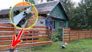 Сделал откатные ворота и доделал забор