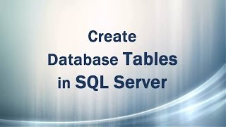 Create Table in SQL Server