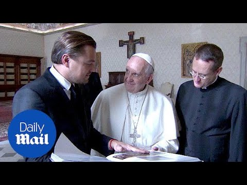 Leo DiCaprio greets Pope Francis in Italian during Vatican visit - Daily Mail