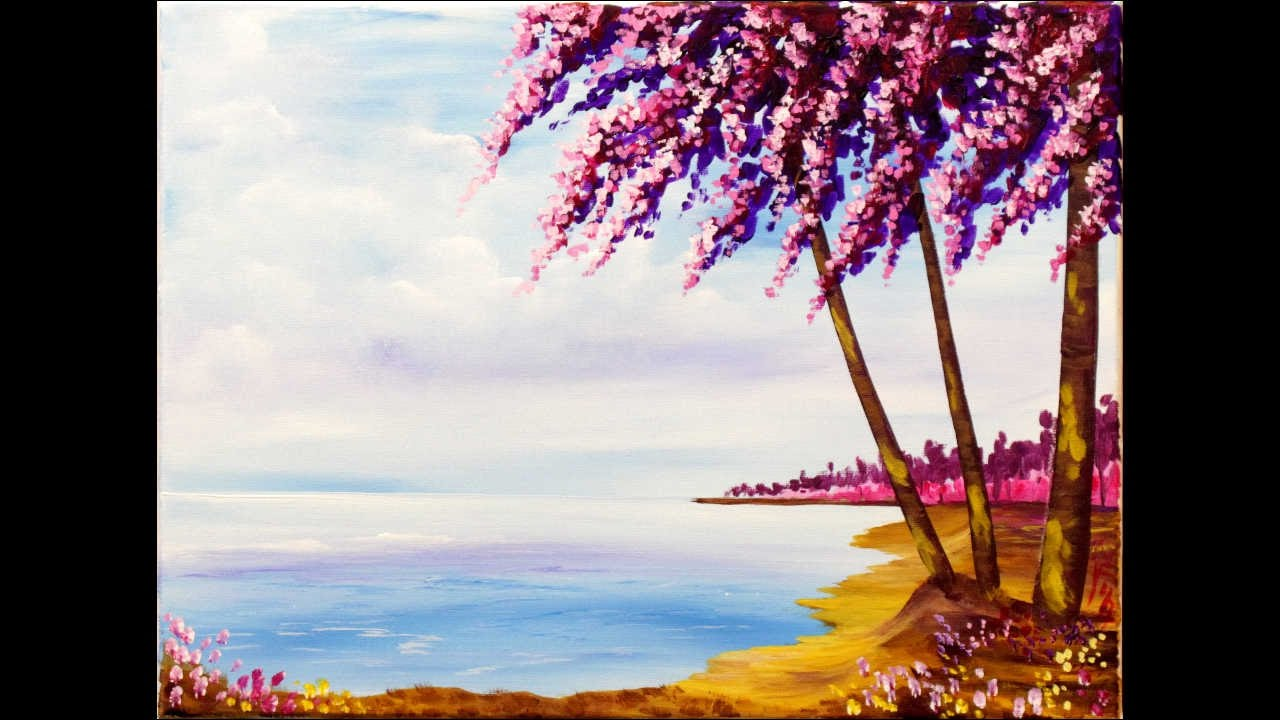 Impressionist Spring Beach Step By Step Acrylic Painting