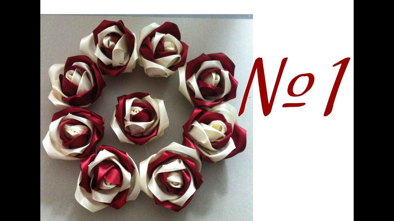 Handmade Crafts Satin Ribbon Rose Рукоделие Розочки из