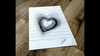 Drawing a 3D Heart On Line paper - 3D Trick Art On Paper - Art Maker Akshay