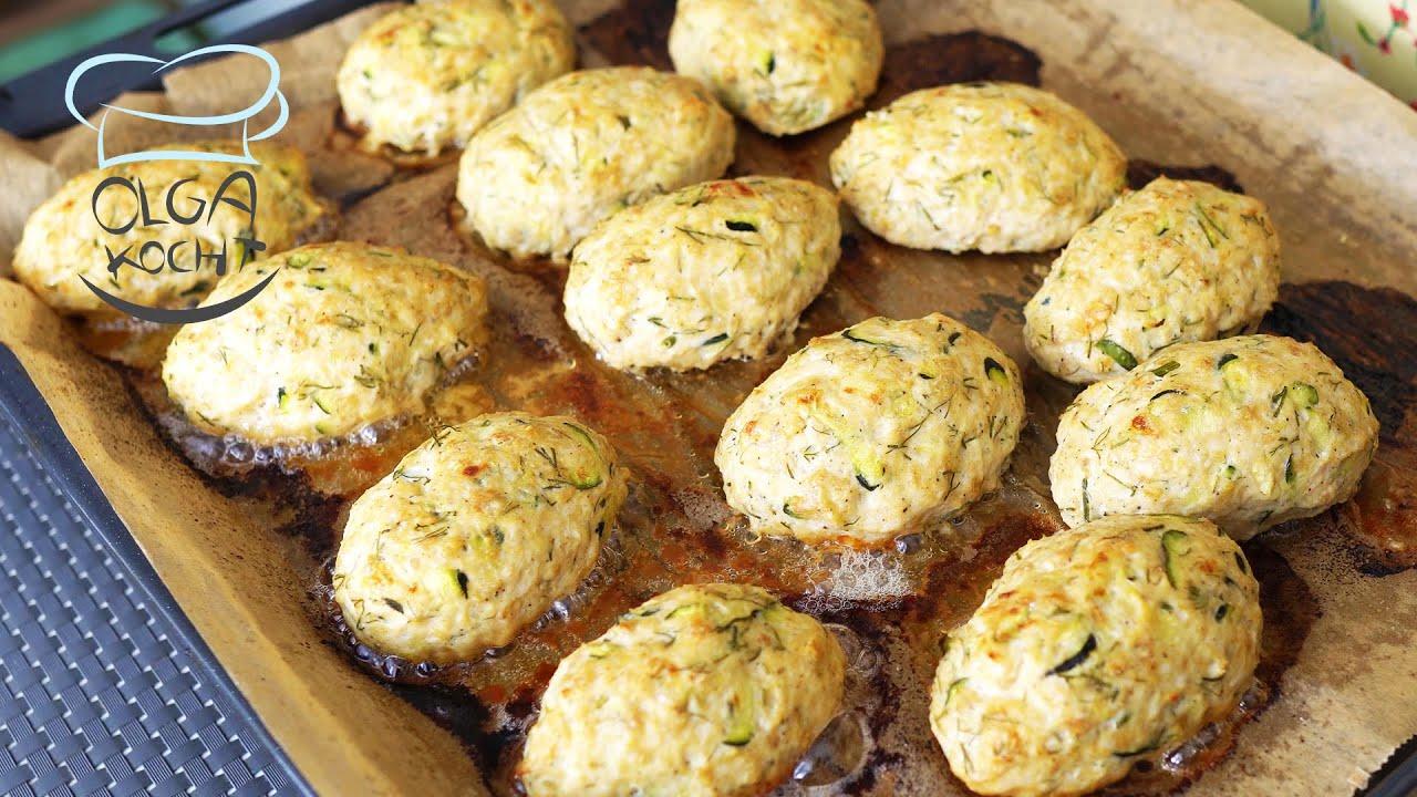 Zucchini Buletten mit Haferflocken und Hühnchen Fleisch - Im Backofen