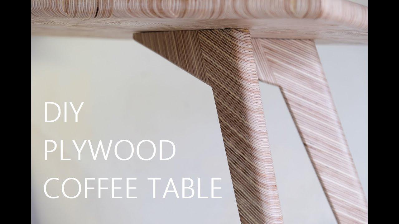 DIY Plywood Coffee Table - Herringbone Pattern - YouTube