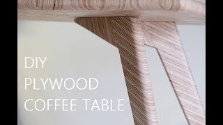 DIY Plywood Coffee Table - Herringbone Pattern