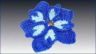 Цветок крючком. Вязание тунисским крючком. Как связать цветок. (crochet flower)