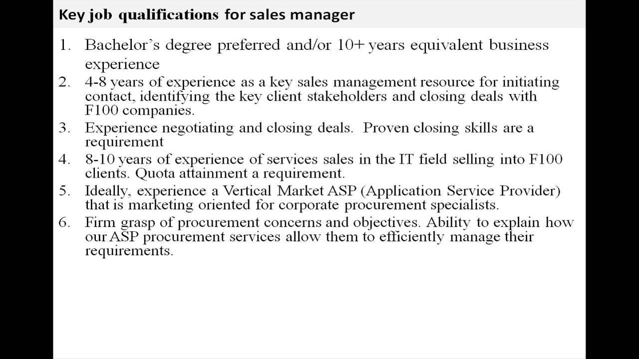 Sales manager job description - YouTube