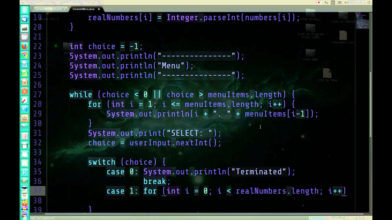 Java Console Menu With Command Line Arguments And User Input Live Code No Commentary