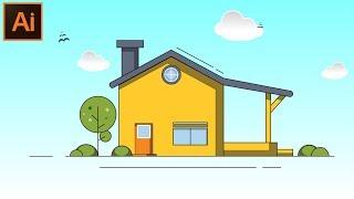 Adobe Illustrator CC Güzel Düz bir Ev Tasarımı Oluşturma