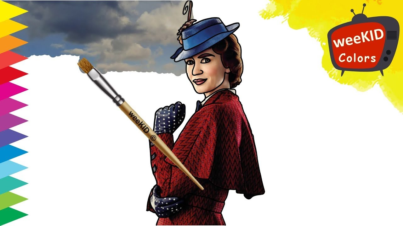 Colouring Mary Poppins   Mary Poppins Coloring Book Pages   Learn ...