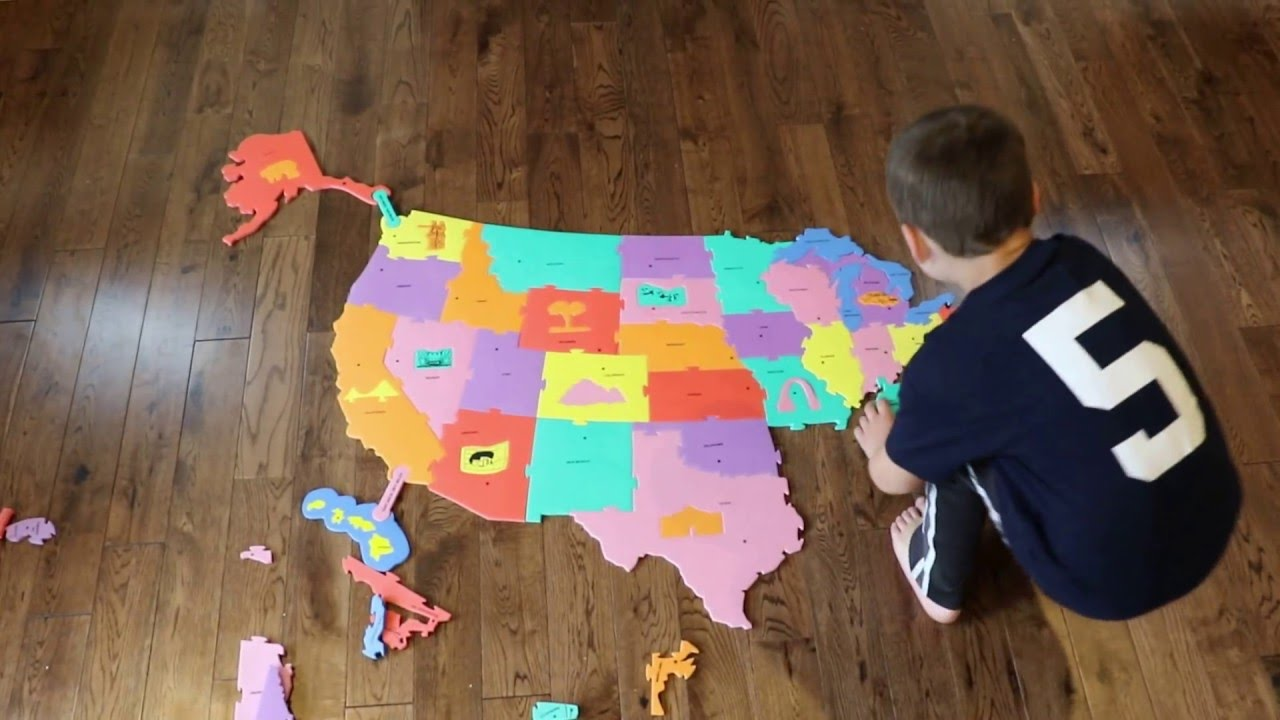 Making The United States Floor Map In Wonder Foam YouTube - Map usa states drag and drop