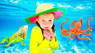 Nastya e sua aventura com brinquedos no mar