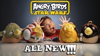 4 NEW Angry Birds STAR WARS PLUSH TOYS! Obi-Wan, Hoth Pilot Luke, C-3PO & Yoda Bird!