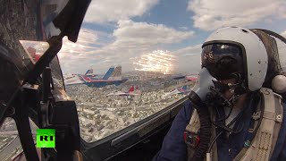 #Victory70 Red Sq Parade Flyover (ft. cockpit footage)