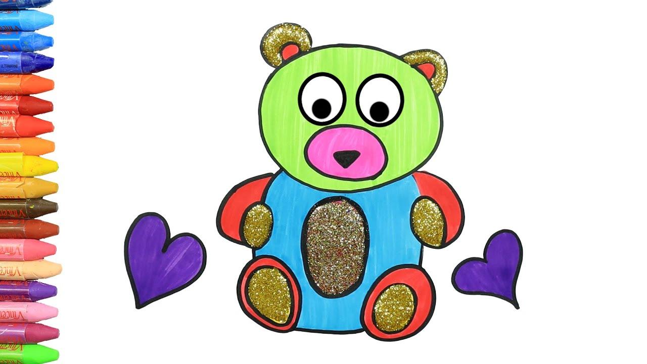 画画教学 | 儿童画画 | 如何画可可愛的泰迪熊 | 如何绘画和颜色孩子电视