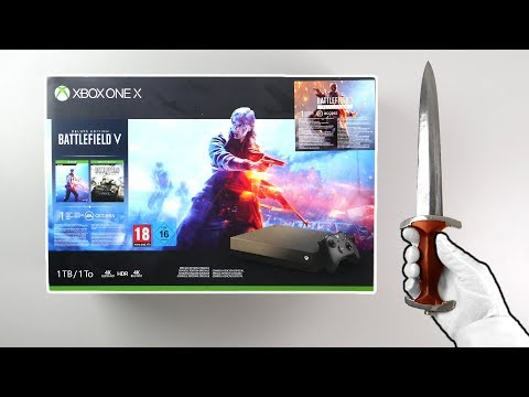 Xbox One X GOLD RUSH Console Unboxing! (Battlefield V Special Edition Bundle)