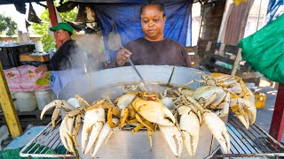 Jamaican Street Food in Kingston!! SPICY CRAB POT + Jerk Pan Chicken in Jamaica