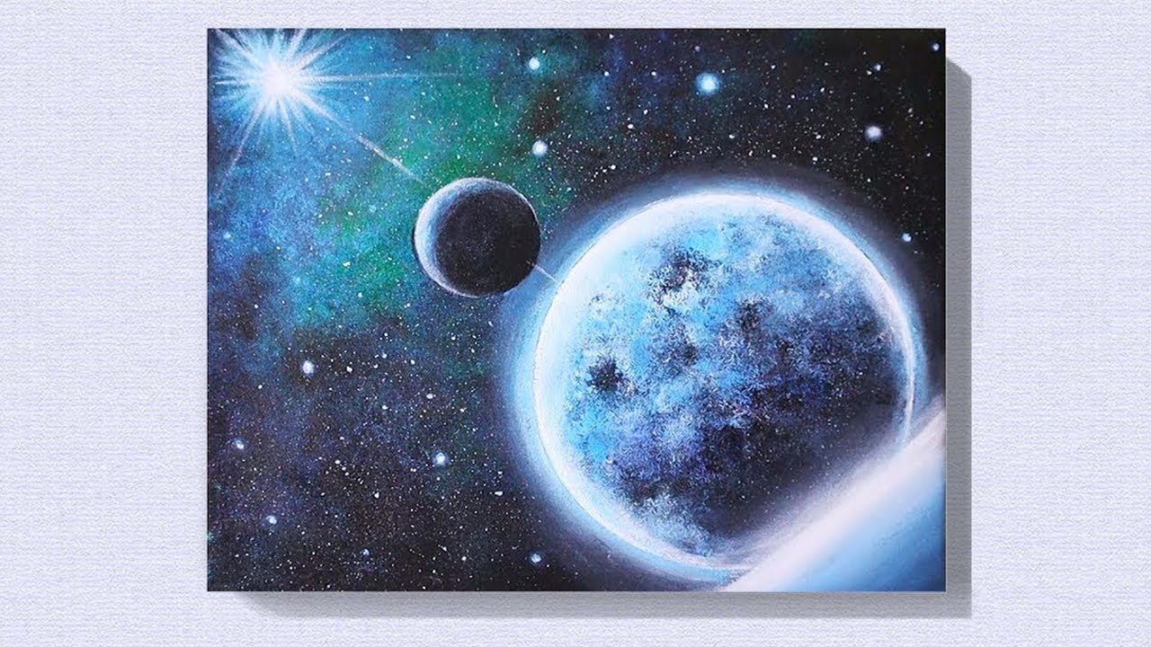 Easy Moon Acrylic Painting Tutorial For Beginners Easy Galaxy Painting Idea For Beginners 40 Youtube