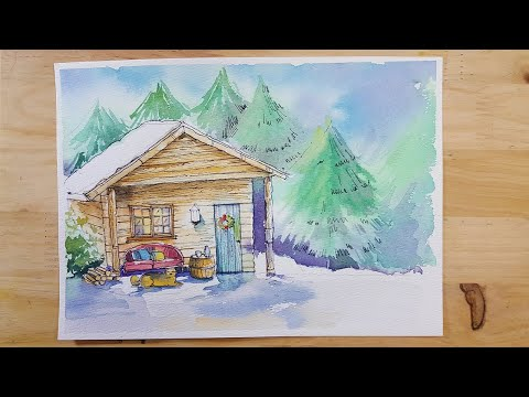 Watercolor House Landscape | Watercolor painting for beginners